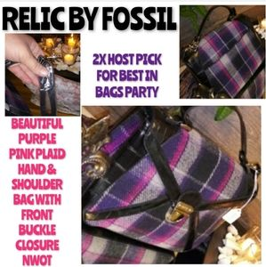 Relic By Fossil Purple Plaid Bag Hand and Shoulder